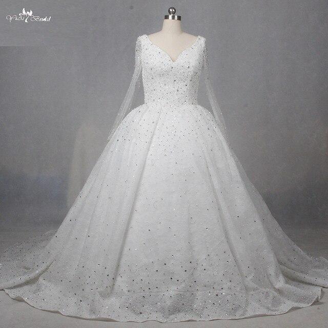 RSW1271 Crystal Ball Gown Manica Lunga Abito Da Sposa Abito Da Sposa di Lusso