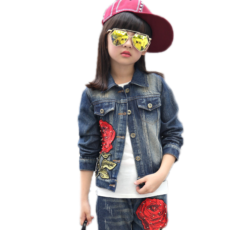 children clothing 2018 new arrival baby girl clothes sets spring top denim jackets+pants 2pcs Embroidery floral kids tracksuit essence d926 110