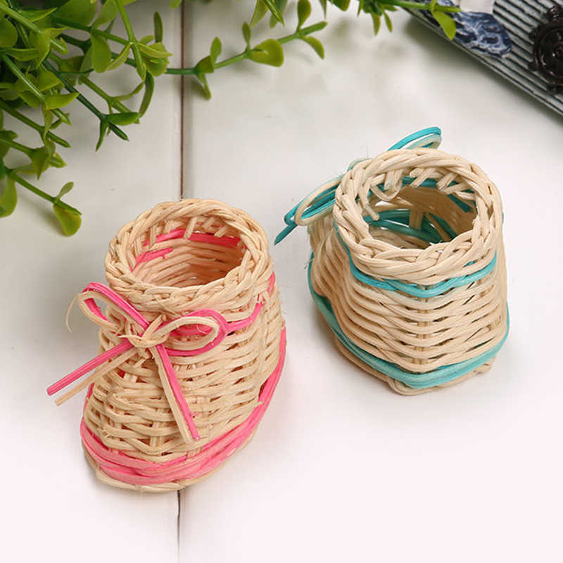 Rosa bonito Cor Azul Sapato Palha Cesta de Flores Secas Vaso de Mesa Com Função de Armazenamento De Casa e Decoração de Natal DropShipping
