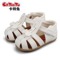 Crtartu chất lượng cao pure color da nối cho flat dép bé brown bé sandals Trắng dép bé 1-3 năm tuổi bé s