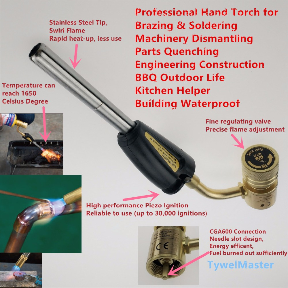 Gas Welding Torch Mapp Propane Gas Brazing Torch Self Ignition Hand Torch CGA600 Soldering Quenching Heating Burner BBQ CE