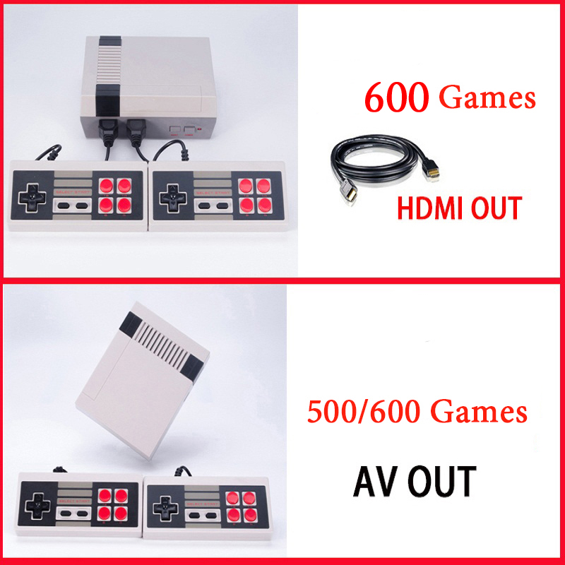 HDMI/AV Output Mini TV Handheld Game Console Video Game Console With 500/600 Different NES games Built-in for 4K TV PAL & NTSC
