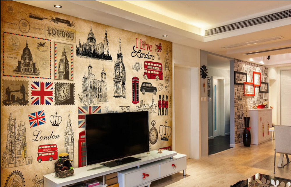 Custom Vintage Wallpaper, Retro Europe London,murals For Living Room Bar  KTV Restaurant Background Wall Embossed Papel De Parede Part 42