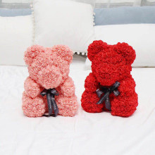 2019 Hot Sale 40cm Soap Foam teddy rose Bear Artificial flower bear for New Year /Valentines /Christmas and girlfriend gift box(China)