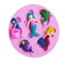 3D Silicone Mermaid Dolphin Fondant Mold DIY Chocolate Cake Decorating Tools  Christmas Gift Mould Baking Tools 3d christmas pine cones tree silicone candle soap fondant mold cake chocolate decorating baking mould tool