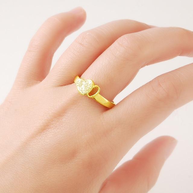 Fasion Design Love Heart 24k Gold Rings For Women Gold Color Luxury