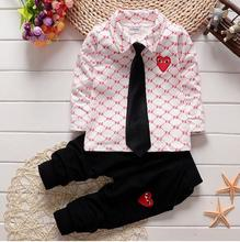 2016 spring autumn baby Boy fashion cotton Lattice outfits child Gentleman tie shirt+kids pants kid Christmas clothing set