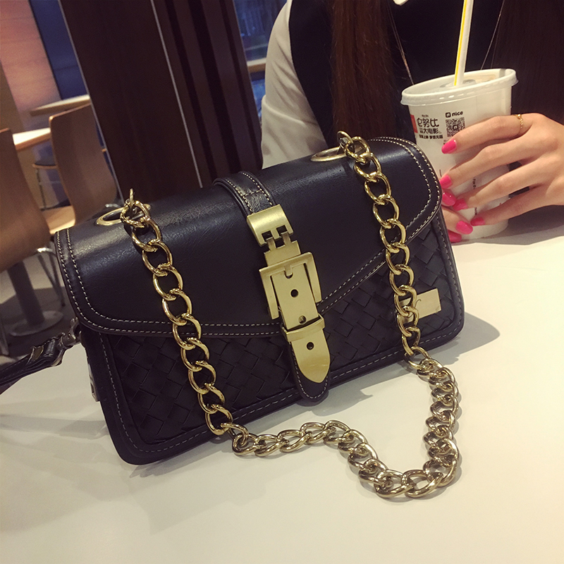 ФОТО 2016 New Fashion Weave Ladies Bag High Quality PU Leather Small Bag Female Brand Designer Chain Crossbody Bag Bolsos