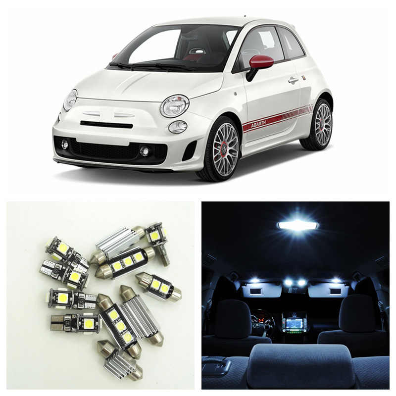7pcs Canbus White Car Lamp LED Light Bulbs Interior Package Kit For 2012-2017 Fiat 500 Dome Trunk License Plate Light
