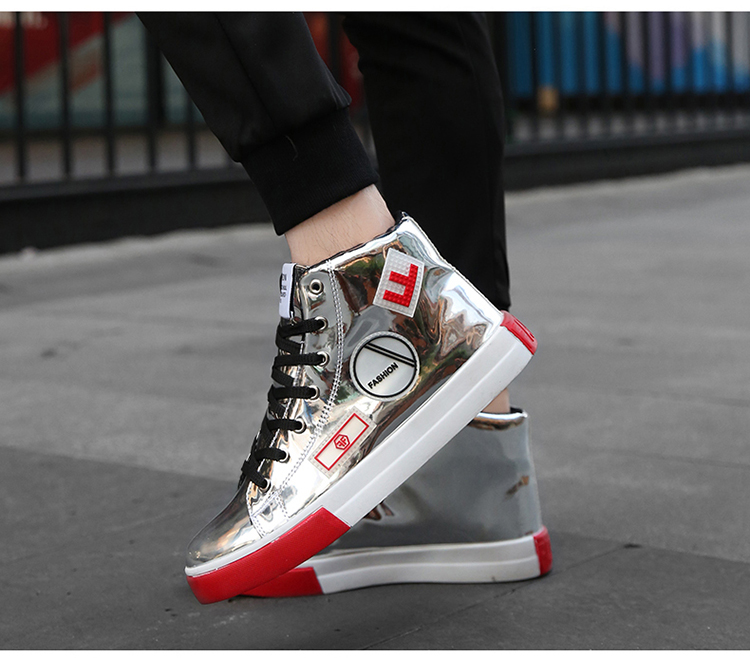 2018 Men leather casual shoes hip hop Gold fashion sneakers silver microfiber high tops Male Vulcanized shoes sizes 46 6