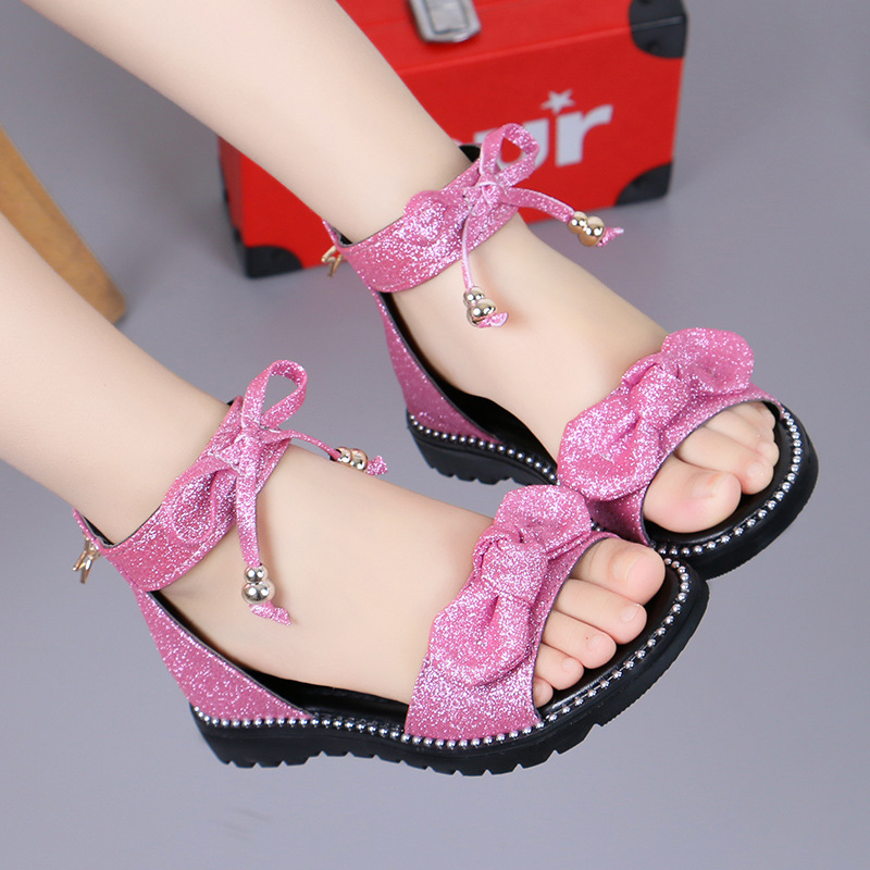 Girls Shoes Flat Heel Sandals Kids Girls Spring Summer Little Kids Shoes Princess Dress Bow Fashion Shoes Teenage Girls A857