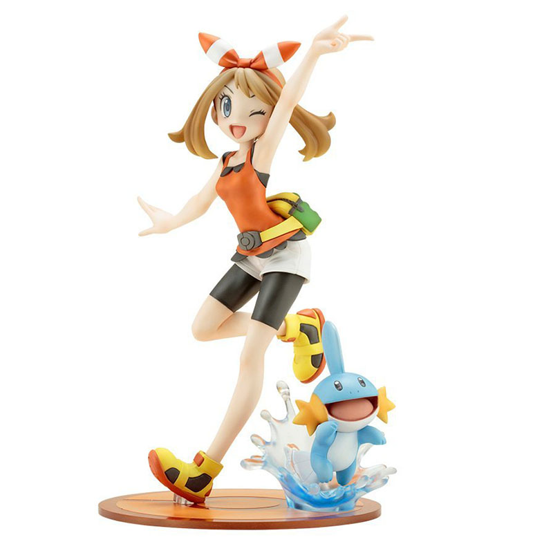 19cm Japan Anime May with Mudkip Action Figure Model Toys Room Decoration pkm  Figure Toys Girl Figure Kids Gifts
