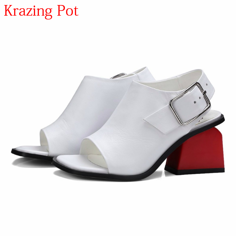 2018 Brand Summer Shoes Genuine Leather Peep Toe Ankle Straps Women Sandals High Heels Mixed Colors Elegant Causal Shoes L50