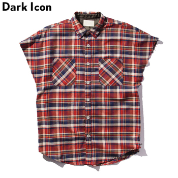 DARK ICON Flannel Plaid Oversized Mens Shirt Sleeveless 2019 Summer Hip Hop Shirts Men Cotton Shirts Man Clothing