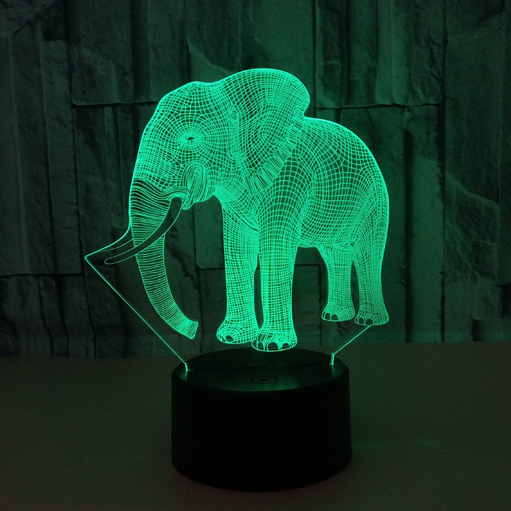 Creative 3D light Elephant Night Light 7 Color Change Acrylic LED Table Lamp USB light children Bedroom as Gift for Decoration mipow btl300 creative led light bluetooth aromatherapy flameless candle voice control lamp holiday party decoration gift