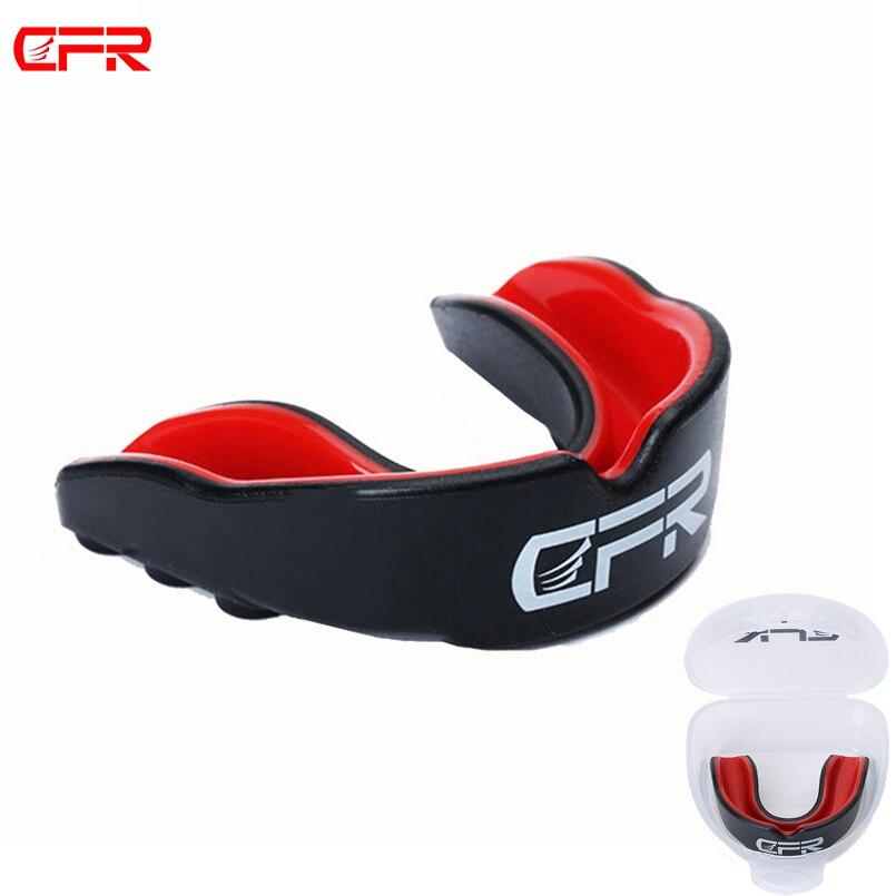 Cfr mouthguard basquete futebol boca guarda dentes dupla face proteger para boxe mma boca chaves goma aros escudo engrenagem rugby