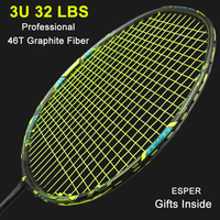 Esper Professional Carbon Fiber Badminton Racket 32Lbs 3U Super Foerce Woven With String Racquet High Tension Racquets For Adult