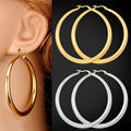 Big Round Earrings Simple Basketball Wives Fashion Jewelry For Women Hoop Earring Stainless Steel / Yellow Gold Plated GE678