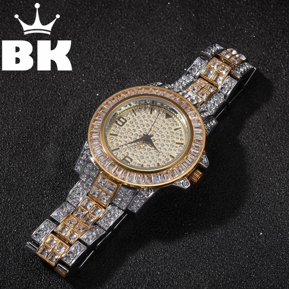 Hip Hop Full Iced Out Men Watches Stainless Steel Fashion Luxury Rhinestones Quartz Square Wristwatches Business Watch(China)