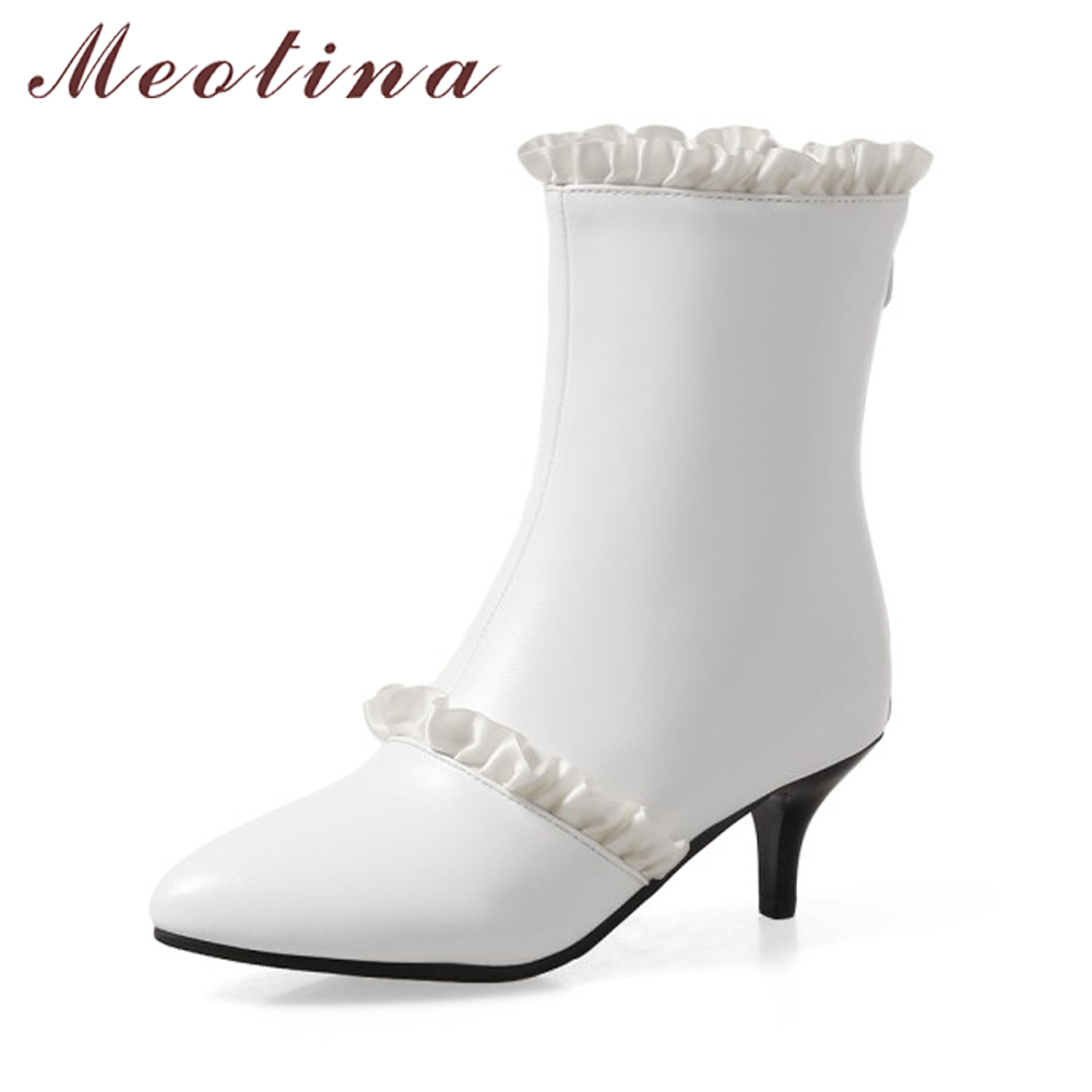 Meotina Winter Women Boots Ruffles Pointed Toe Mid-Calf Boots Thin High Heel Boots Solid Fur Warm Shoes White Black Big Size 45 meotina winter women knee high boots snow boots fur motorcycle boots pointed toe high heels shoes zipper black brown size 10 43