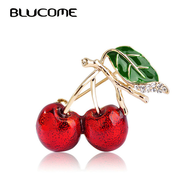 Blucome Red Enamel Brooches For Women Kids Cherry Brooch Corsage Small Bouquet H