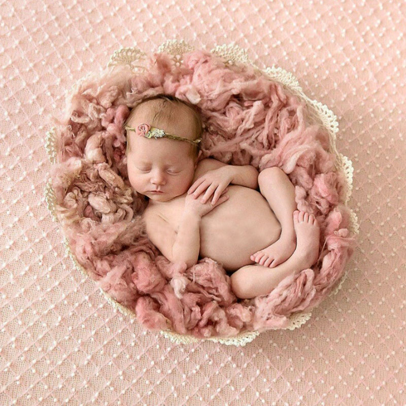 Newborn photography props wool felt basket filler background stuffer baby photo prop a105 wool fiber decor studio accessories in hats caps from mother