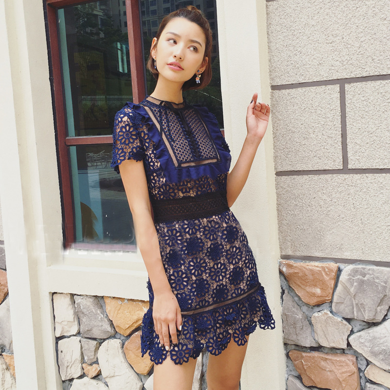 Designer Dresses Runway 2017 High Quality Women O neck Solid Summer Lace-up  Bow Hollow 609f0ae3d321