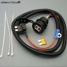 shhworldsea 1set 1M 1.5mm2 Dual USB Charger Adapte Car Cigarette Cigar Lighter DC12V 24V 3.1A Stardard Fuse Tap Holder Lead