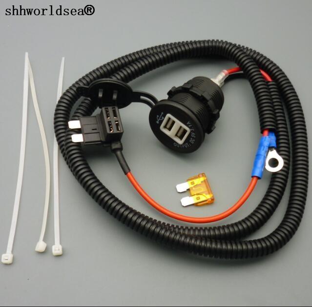 Shhworldsea 1 set 1 M 1.5mm2 Dual USB Charger Adapte Fusibile Accendisigari DC12V 24 V 3.1A Stardard Titolare rubinetto Senza Piombo