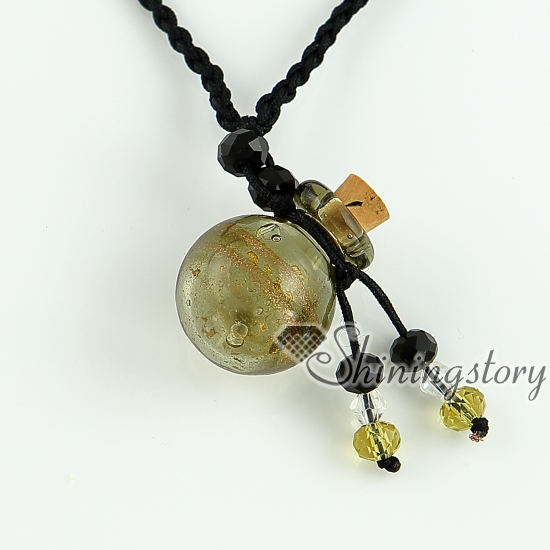 glitter essential oil diffuser necklaces small wish bottle pendants necklace wholesale italian murano glass jewelry necklace blown glass bottle pendant