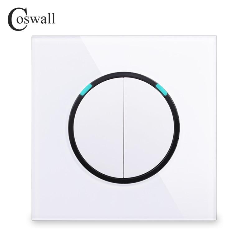 Coswall 2018 nuevo Panel de cristal de llegada 2 Gang 1 Way botón de presión aleatorio interruptor de luz de pared con indicador LED