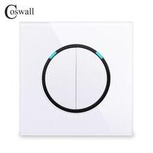 Coswall kristal temperli cam Panel 2 Gang 1 yollu rastgele tıklayın itme/kapalı duvar ışık anahtarı mavi aydınlatmalı r11 serisi