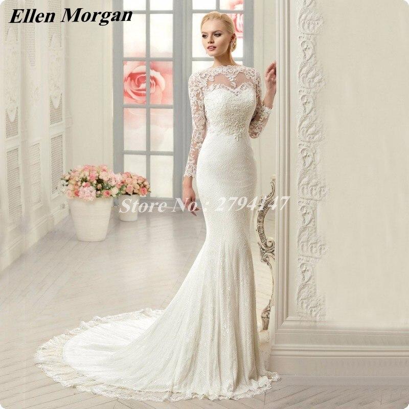 naviblue designer bridal gowns 2017 sexy see through sheer neck appliques cheap discount long sleeve mermaid wedding dresses