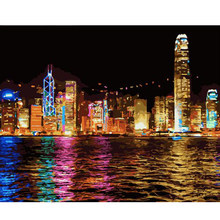 Paint by Numbers Kit for Adults Unframed Canvas Victoria Harbour Hand Painted Modern city Scenery Poster Home Decor(China)
