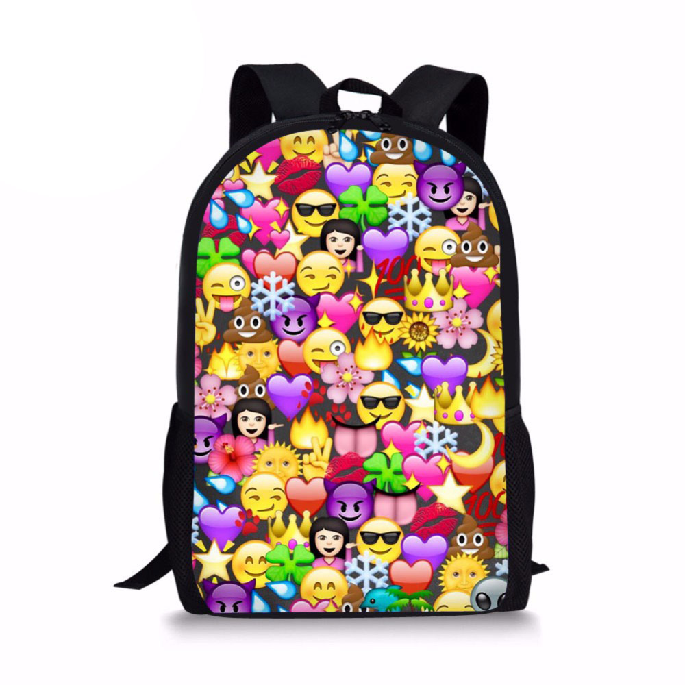 Kids School Backpack Cartoon Funny Emoji Print Schoolbag for Girls Child Primary Bagpack 16 Inch Bookbag Mochila Infantil