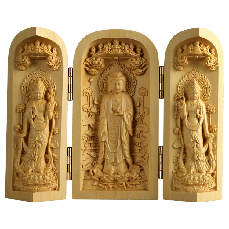 Boxwood carving wooden crafts statues furniture solid wood carvings handlebars three boxes Home decor ornaments artcrifts