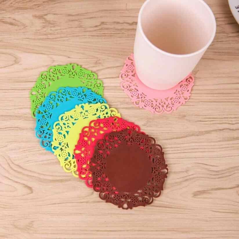 2 MÁY TÍNH Ren Hoa Doilies Silicone Coaster Trà Thảm Miếng Lót Cách Nhiệt Placemat