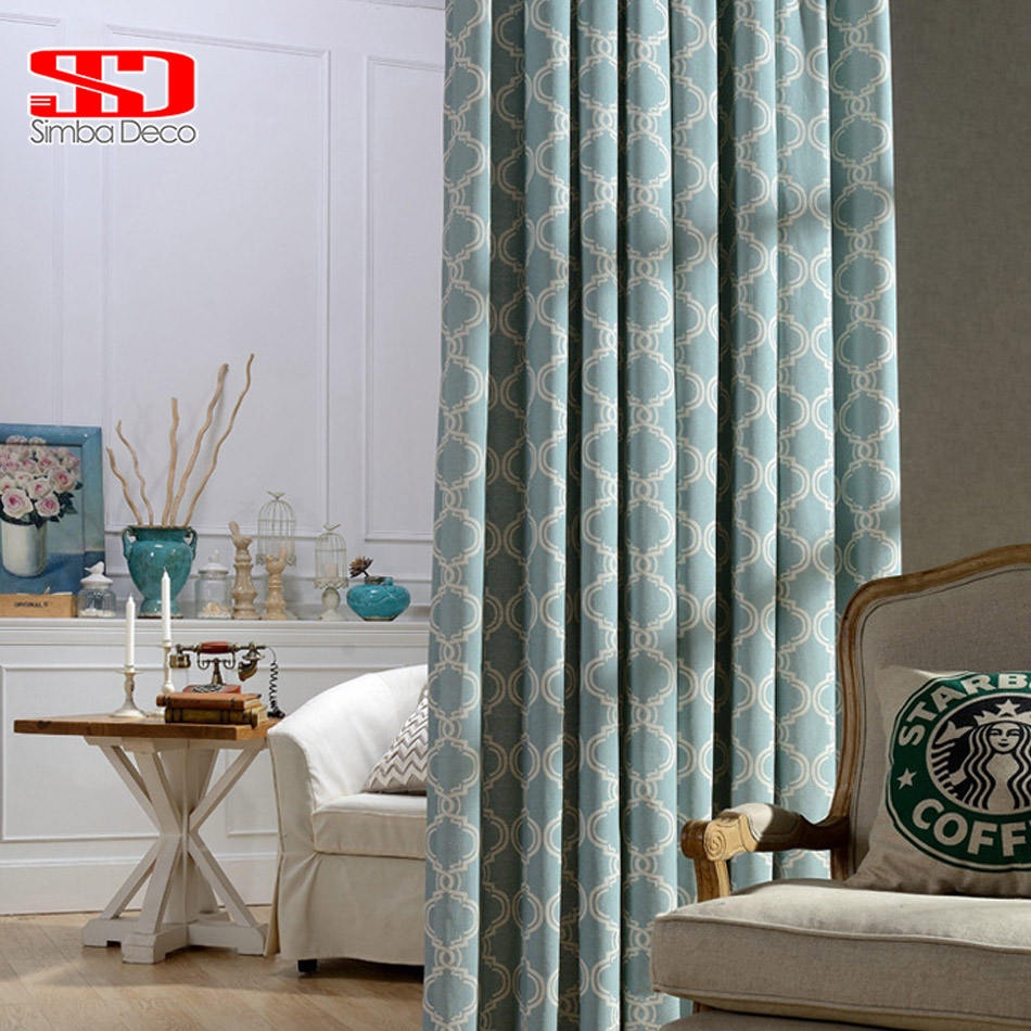 Modern Geometric Lantern Linen Curtains For Living Room