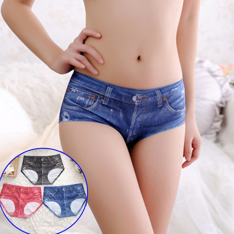 Women Jean Jeggings   Panties   Summer Stretched Short Print Soft Seamless Briefs Girls Comfortable Sexy   Panty   Underwear Lingerie