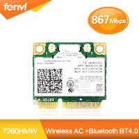 Carte Wifi sans fil double bande pour Intel 7260 AC 7260HMW Mini PCI-E 2.4G/5Ghz Bluetooth 4.0 Wlan adaptateur Wi-Fi 802.11ac/a/b/g/n