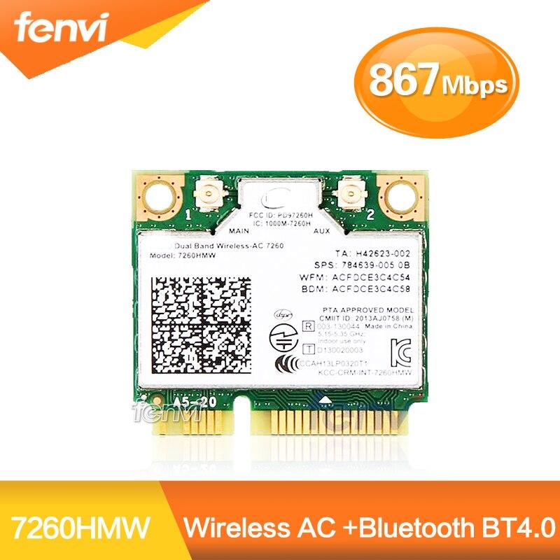 Dual Band Cartão Wi-fi Sem Fio Para O Intel 7260 AC 7260HMW Mini PCI-E 2.4G/5Ghz Bluetooth 4.0 Wlan adaptador Wi-Fi 802.11ac/a/b/g/n