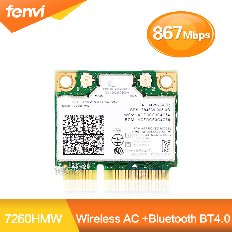 Dual Band traadita Wifi kaart Intel AC7260 7260HMW ac Mini PCI-E 2.4G / 5 GHz Wlan Bluetooth 4.0 Wifi kaart 802.11 ac / a / b / g / n