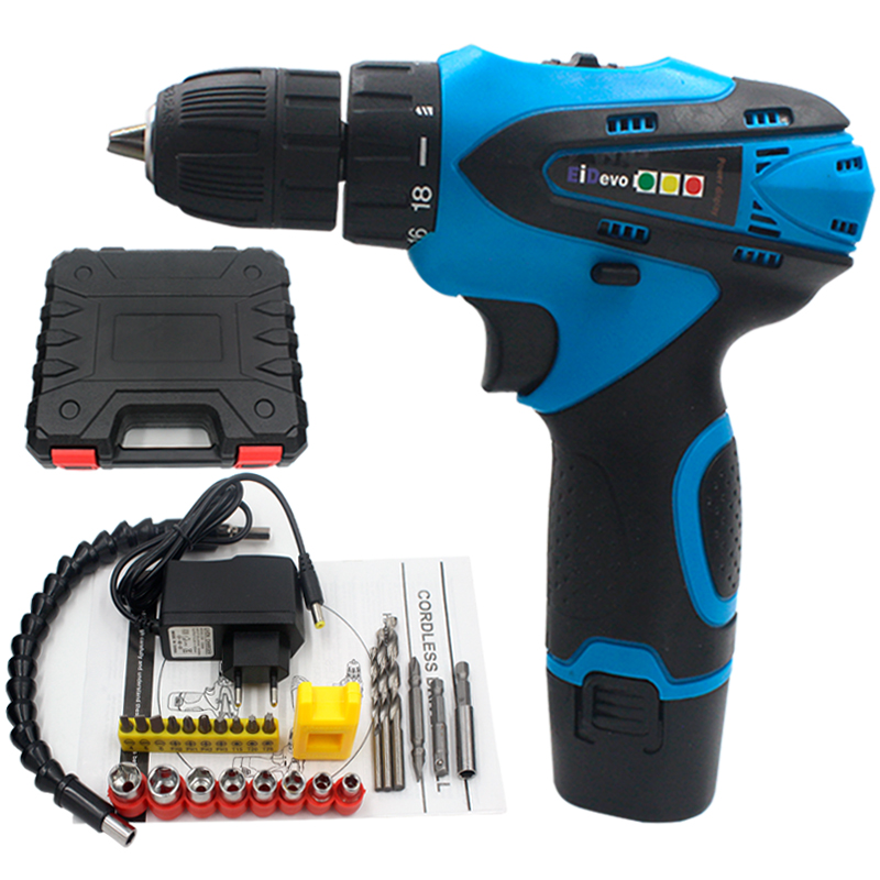 цена на EiDevo 12V Electric Cordless Drill Flexible adapter Drill bit for wood metal Hand Mini drill kit Cordless Screwdriver power tool