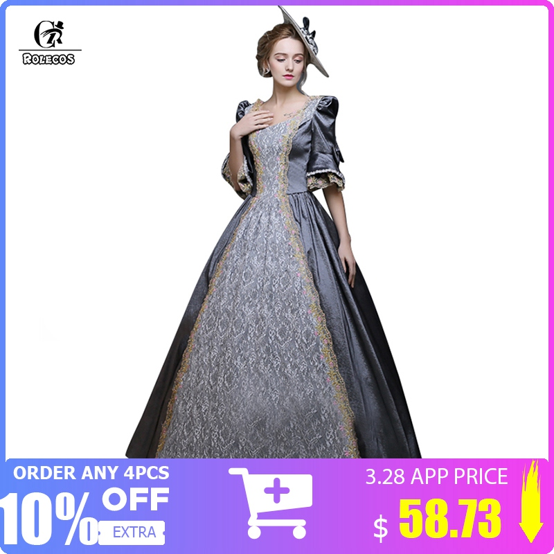Rolecos Women Retro Medieval Renaissance Victorian Dresses Princess Ball Gowns Dresses Masquerade Costumes