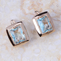 Wholesale & Retail ! Gold Plated Blue Crystal CZ Fashion Jewelry Stud Earrings E095