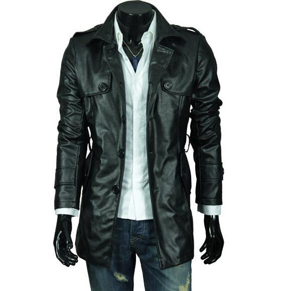 Livraison rapide 2018 nouveau hommes en cuir Jacekt + décontracté veste Slim Fit avec ceinture, Pu cuir 2 couleurs, 4 tailles, livraison directe