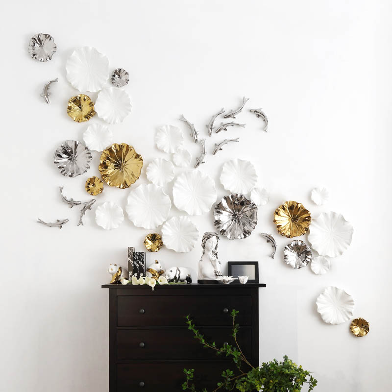 Resin Lotus Leaf Carp Wall Decoration Ornament for Home TV Background Decoration