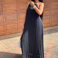 Women Chiffon Halter Sleeveless Sexy Dress Solid Backless Pleated Maxi Bohemian Summer Party Beach Dresses