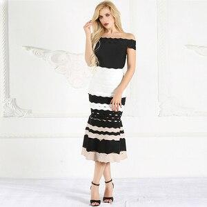Image 4 - Spódnica syrenka dla kobiet 2019 lato nowa seksowna z wiązaniami spódnice z wysokim stanem panie Celebrity Striped spódnica trzy czwarte czerwony czarny biały