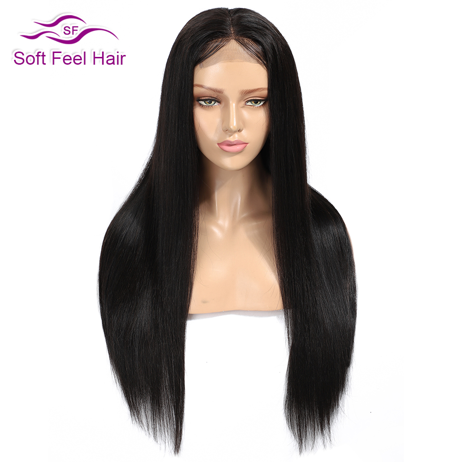 Soft Feel Hair Lace Front Human Hair Wigs Pre Plucked 1B Black Brazilian Wigs For Women